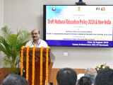 "Dr. Bibhash Chandra Das Purkayastha, Vice President, Bharatiya Shikshan Mandal delivering his speech on the topic ""New Education Policy and its philosophy"""