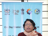 Dr. Bharati Dutta, HOD, Geography , DHSK College delivering her speech